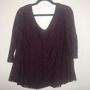 American Eagle Burgundy Lace Blouse